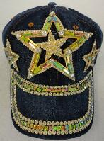 Denim Hat with Bling *Gold [Triple Stars]